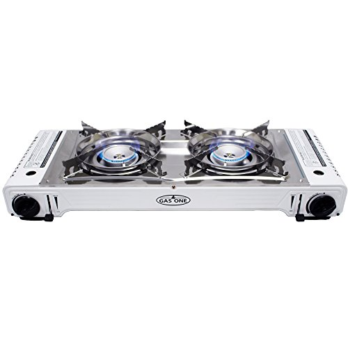 GAS ONE GS-2000 Dual Fuel Double Portable Propane or Butane Stove with Camping and Backpacking Gas Twin Stove Burner with Carrying Case (Stainless Steel & White)