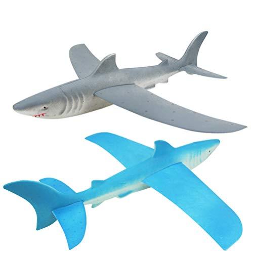 TOYANDONA 2 Piezas Aviones de Espuma de Tiburón Aviones Planeadores de Lanzamiento Manual Aviones de Lanzamiento Manual Juguetes Voladores Aviones Planeadores de Poliestireno para