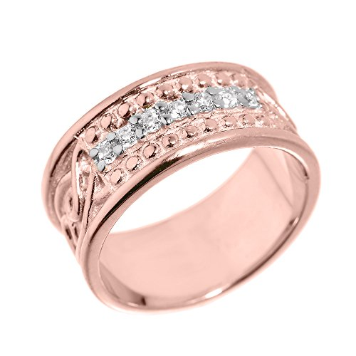 Men's 10k Rose Gold 8.5mm Celtic Knot Band 7-Stone Diamond Wedding Anniversary Ring (Size 14)