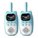 H HILABEE ABS-Kunststoff tragbare Kinder Walkie Talkies mit FM-Radio 1000 mAh Spielzeug für Kinder Mädchen Jungen 3-12 Radfahren Camping Outdoor-Spiele - 2 blau