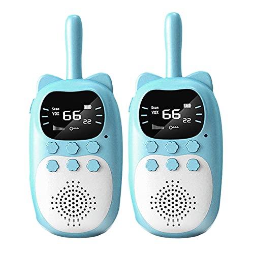 H HILABEE Walkie Talkies de plástico ABS para niños con Radio FM, Juguetes de 1000 mAh para niños, niñas, niños de 3 a 12 años, Ciclismo, Acampar, Juegos al - 2 Azules