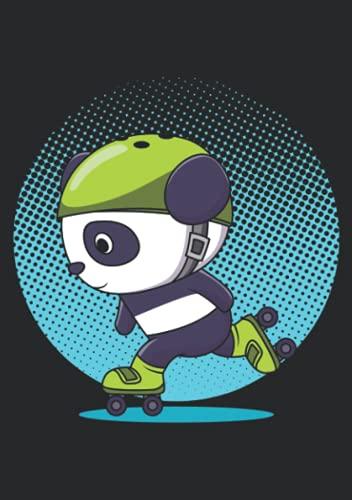 Notizbuch A5 dotted, gepunktet mit Softcover Design: Rollschuh Panda Geschenk mit Helm Inliner Skater Kinder: 120 dotted (Punktgitter) DIN A5 Seiten