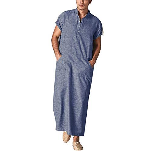 GaoYunQin Hommes Chemise de Nuit Robe Hommes Col en V Robe a Manches Courtes Peignoirs Chemise de Nuit avec Poches, Chemise Décontractée Longue Robe pour La Plage, L'été (Color : Blue, Size : Large)