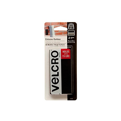 VELCRO Brand Extreme Tape Strips | 4 x 2 Inch 2 Sets | Holds 15 lbs |Heavy Duty Black with Stick on Adhesive | Strong Holding Power for Outdoor Use