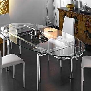 Tavolo Cristallo Allungabile Usato.Amazon It Tavolo Vetro Ovale Arredamento Casa E Cucina