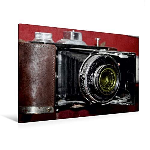 Calvendo Premium Textil-Leinwand 120 cm x 80 cm quer, Alte Rollfilm-Kamera | Wandbild, Bild auf Keilrahmen, Fertigbild auf echter Leinwand, Leinwanddruck: historischen Fotoapparats Hobbys Hobbys