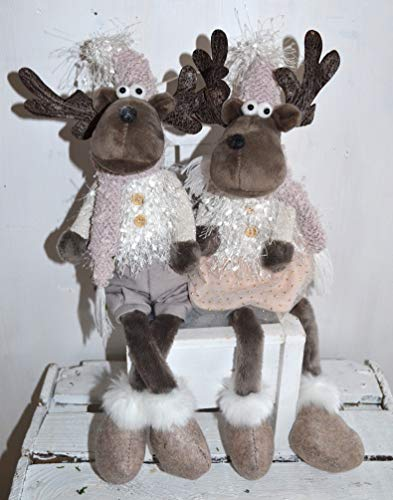 Jürgen Schleiß Konfektion Deko Figur Elch grau Mann, Textil beige, 50cm, Weihnachtsdeko Weihnachtswichtel Dekofigur Winter Weihnachten Kantenhocker