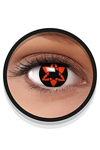FXEYEZ Farbige Sharingan Kontaktlinsen EWIGES MANGEKYOU in rot, weich, 2 Stück (1 Paar), Ohne Sehstärke