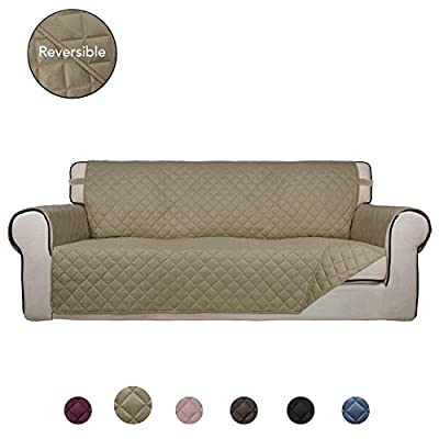 PureFit Reversible Quilted Sofa Cover, Water Resistant Slipcover Furniture Protector, Washable Couch Cover with Non Slip Foam and Elastic Straps for Kids, Dogs, Pets (Sofa, Beige/Beige)