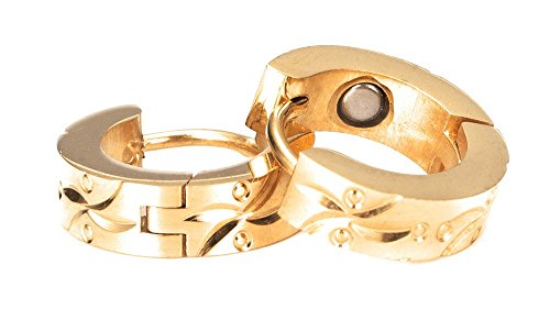 Maiju gold Magnet Ohrcreolen 18 Karat vergoldet Energetix 4You 2028 massiver medizinischer Edelstahl nickelfrei allergiefrei klassisch elegant Ø 1,4 cm