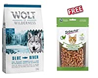 Wolf of Wilderness Blue River 12kg dry dog food is made with fresh chicken and delicious salmon which provide valuable animal protein and essential fatty acids so you know that you are feeding your dog with a species appropriate diet. High meat conte...