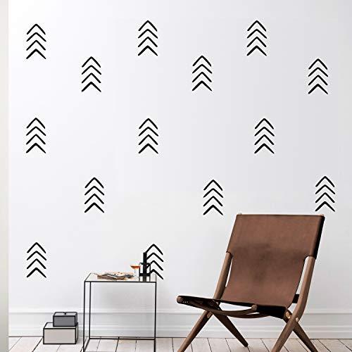 Set of 12 Vinyl Wall Art Decals - Arrows - 8' x 4' Each - Modern Sticker Pattern for Home Office Bedroom Nursery Living Room - Urban Lifestyle Minimalist Playroom Apartment Decor (Black)