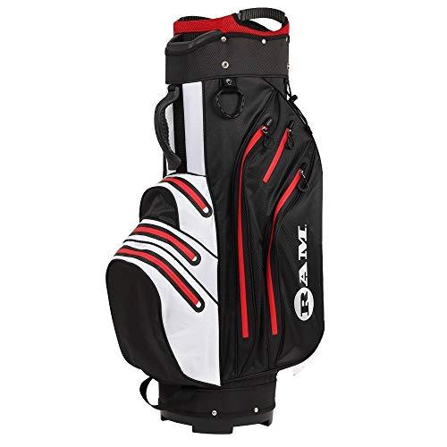 Ram Golf Waterproof Cart Bag - 14 Way Club Dividers Black/White/Red