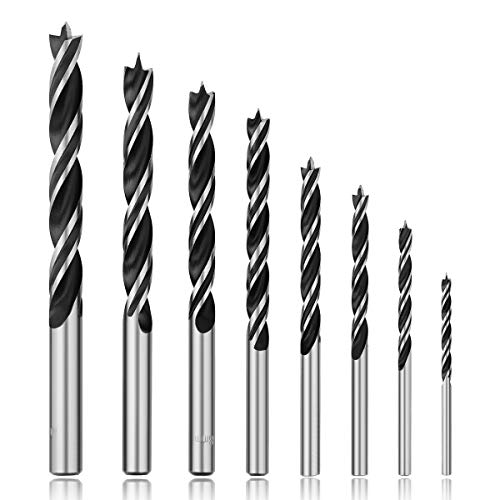 COMOWARE Wood Drill Bit Set 8 Pcs for Hardwood, Plywood, Plastic - Professional Brad Point Drill Bits, Wood Hole Cutter, High Carbon Steel with Storage Case, 3 4 5 6 7 8 9 10 mm