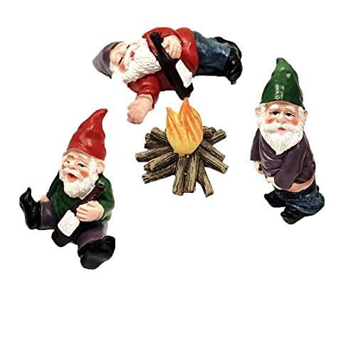 YANGJI 4PCS Gartenzwerg Dekoration,Mini-Gartenzwerge,Mikrolandschaft DIY Statuen,Lustige Gartenzwerg,verwendet für Familiengeburtstagstorte Dekoration,Puppenhaus...