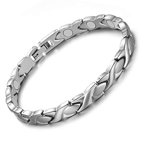 Jecanori Titanium Magnetic Bracelets for Women Arthritis Bracelet 100% Pure Titanium Magnetic Therapy Bracelets for Pain Relief with 3500 Gauss Magnets Adjustable Lightweight Bracelet