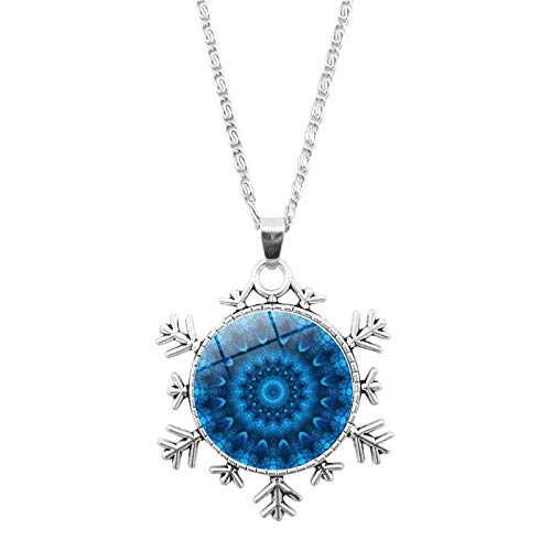 DZX Time Gemstone Jewelry,Blue Spiral Mandala Flower Plant,Christmas Snowflakes Bracelet European And American Necklace Jewelry Crystal,Fashion Gift