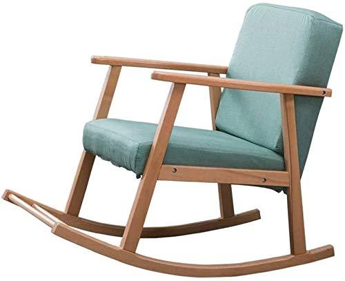 Jiaduobao - Sedia a dondolo imbottita a dondolo, moderna poltrona con schienale alto, comoda seduta imbottita in tessuto con base in legno (colore: verde)