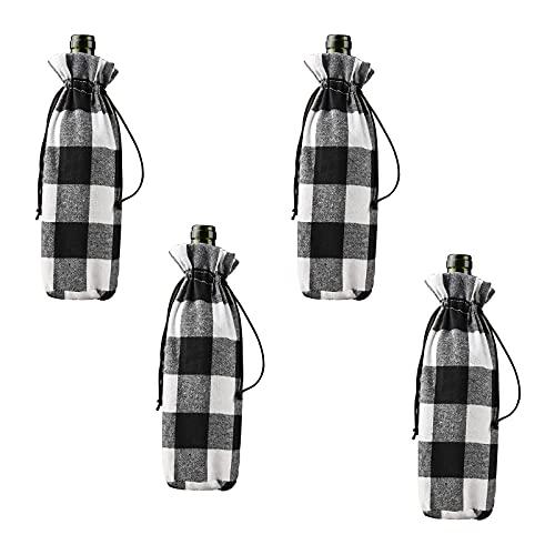 HYLOOD Paquete de 4 fundas para botellas de vino de Navidad de búfalo, bolsas decorativas para botellas de vino con cordón para decoración de fiestas de Navidad