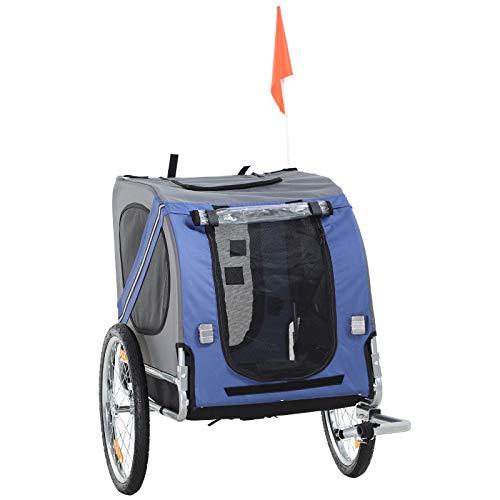 Pawhut Haustier Fahrradanhänger Hundeanhänger Wetterschutz Blau Oxfordstoff Atmungsaktiv 130 x 73 x 90 cm