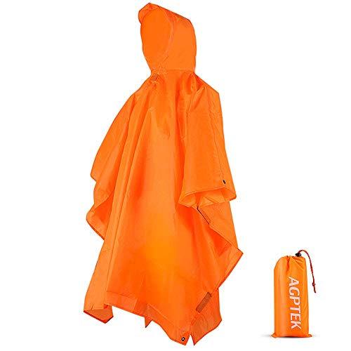 AGPTEK Regenponcho, Wasserdichter Regenmantel Unisex, 3-in-1 Multifunktionales Regencape zum Wandern, Reisen und Angeln, Orange