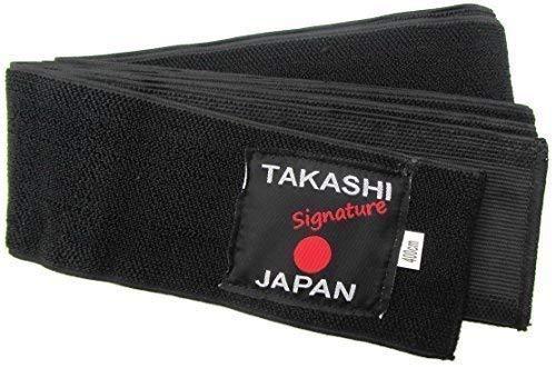 NWS Japanisch Obi-Gürtel elastische- Flexi Kuro Obi Gürtel Iaido- Kendo, Aikido Schwarzer Gürtel Takashi Japan Signature Sortiment - 400cm x 8cm Easy Bequem Krawatte
