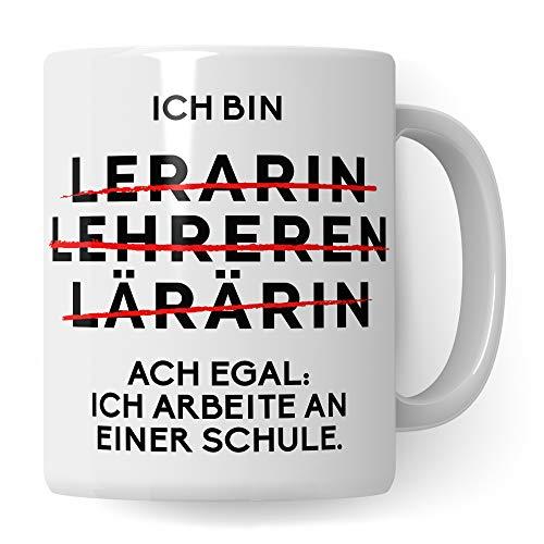 Lehrerin Tasse lustig - Lehrerin Geschenk Becher Schule - Geschenkidee zum Abschied Verabschiedung Lehrerin - Kaffeetasse für Lehrerinnen Lehrer Motiv