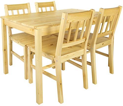 Merkell Leomark Schöne Essgruppe - Natur PINIE - Tisch und 4 Stühlen Kiefer Esstisch Naturholz, Esszimmergruppe für Küche, Komplett, Holz ESS Set, Esszimmergarnitur für 4 Personen