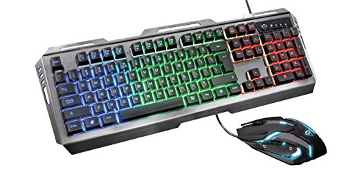 Trust Gaming GXT 845 Tural USB, Kit Tastiera con LED, Anti-Ghosting, 12 Tasti Multimediali, QWERTY Italiano e Mouse con 6 Pulsanti, Nero