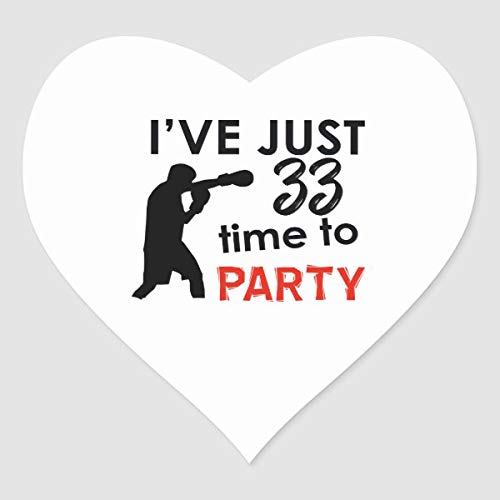 33 Birthday Party Make a Perfect Design Shirt Heart Sticker for Envelope Laptop Fridge Guitar Car Motorcycle Helmet Luggage Cases Decor 4 Inch in Width