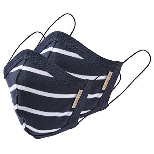 wellyou 2er Set Kinder und Erwachsene Masken, Mundschutzmaske, gesicht mask, face mask aus 100% Baumwolle Gr. (M) 5 bis 10 Jahre; (L) ab 11 Jahre (marine weiss, M (5-10 Jahre))
