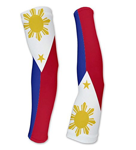 Philippines Flag Compression Arm Sleeves UV Protection Unisex - Walking - Cycling - Running - Golf - Baseball - Basketball - Size M