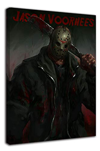 Stampa su tela da parete 'Friday the 13e', 45,7 x 61 cm, con cornice in legno, motivo: horror art killer Jason, per camera da letto di ragazzi e ragazze, allungata e pronta da appendere