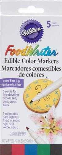 Wilton 489754 Extra-Fine Foodwriter Marcadores 5 Pkg-Amarillo-Verde-Rojo-Azul-Negro