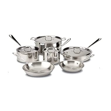 All-Clad Cookware Set, Pots and Pans Set, 10 Piece, Stainless Steel, Tri-Ply Bonded, Silver