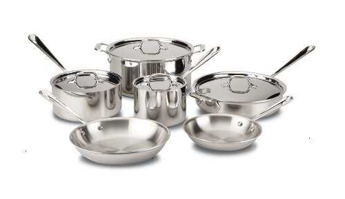 All-Clad D3 Stainless Cookware Set, Tri-Ply Stainless Steel, 10-Piece