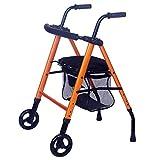 MMWYC Carretilla de Compras Mayor Ambulante Plegable Carretilla Manual de Cuatro Ruedas Comprar Carrito de Comida (Color : Orange)