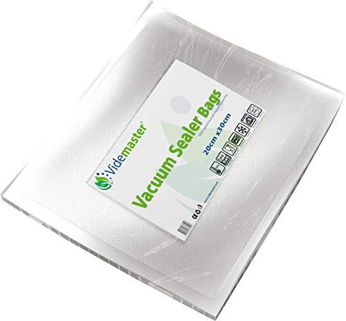 Videmaster Embossed 20cm x 30cm (Qty 100) Vacuum Food Sealer Bag, Clear