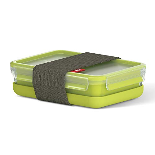 Tefal K3100212 Master Seal to Go Lunchbox Rectangle Food Storage, Clear/Green, 1.2 Litre