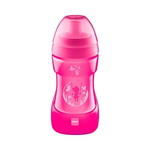 MAM Sports Cup (330 ml), auslaufsicherer Baby Trinkbecher mit selbstöffnendem Ventil, Kinder Trinkbecher mit rutschfester Greiffläche, ab 12+Monaten, Naturmotive, pink