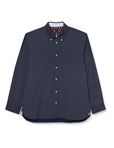 Photo of Tommy Hilfiger Men's Flex Diamond DOT Print Shirt, Carbon Navy/Ecru, L