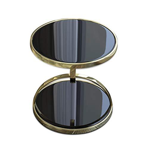 Huoqiin Moderne glazen hoekbank, rond, sofa, kleine tafel, rond, roestvrij staal, zwart dubbellaags