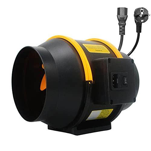 Moonjor Ventilador en línea de 150 mm, regulador de 2 velocidades, con enchufe IEC para casa, oficina, cuarto de baño, espacio de crecimiento (107 CFM)