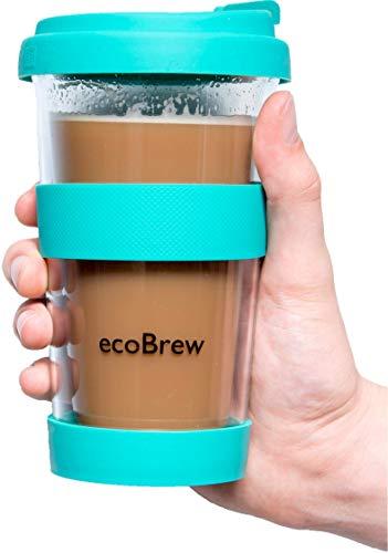 Glas Kaffeebecher to Go | Doppelwandig Isolierung Kaffeetasse | 340 ml Travel Mug mit sicherem Silikon Deckel | Coffee Becher für zu Hause, Büro oder Auto | Helles Aquamarin