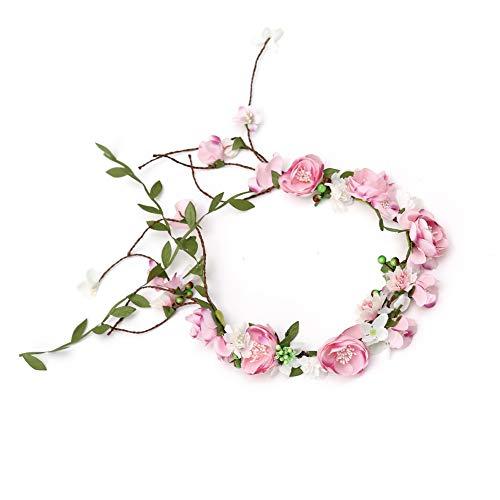 Winslet Blumenkrone, Stirnband mit verstellbarem Band für Frauen oder Mädchen als Haarschmuck (Pink)