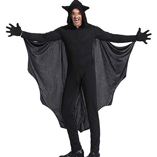 Disfraz de Murciélago para Halloween Traje Completo Divertido para Familia Mujer Hombre Niño con Capucha Manga Larga para Fiesta de Cosplay (Negro - Hombre, M)