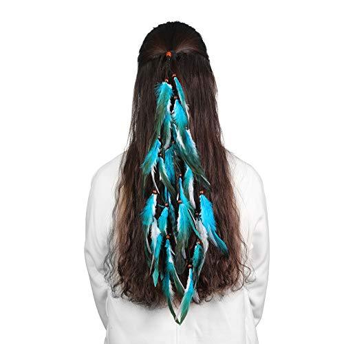 Feder Haarband Quaste Indian Hippie Kopfschmuck - Boho Indian Federschmuck für Vintage Festival Stirnband Kopfbedeckung mit Perlen Maskerade Kostüm(Blau + Weiß)