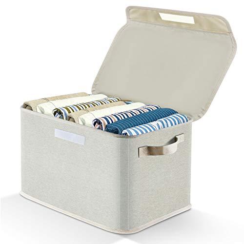 APLKER Aufbewahrungsbox Stoff mit Deckel, Faltbar Aufbewahrungskisten für Spielzeug, Kleidung und Bücher Aufbewahrungskörbe mit Stützstangen für Schrank, Tische, Regale (1pcs, Beige)