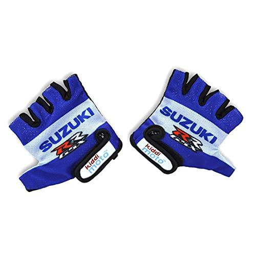 KIDDIMOTO Offizielle Suzuki Kinder Fahrradhandschuhe, atmungsaktiv, halbe Finger, rutschfest, für Kinderfahrrad, Laufrad, Roller und Skateboard, Handschuhe für Mädchen und Jungen (Medium)