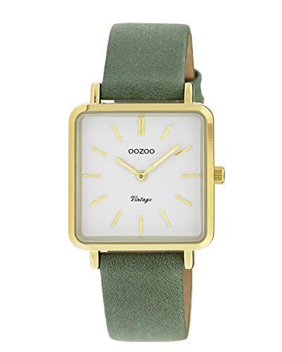 Oozoo Vintage Damenuhr mit Lederband Quadratisch 28 MM Goldfarben/Weiß/Grün C9943